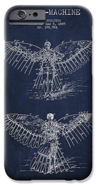 Flight iPhone Cases - Flying machine Patent Drawing iPhone Case by Aged Pixel