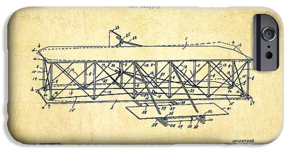 Flight iPhone Cases - Flying Machine Patent Drawing from 1906 - Vintage iPhone Case by Aged Pixel
