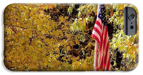 Sedona iPhone Cases - Flying Our Colors in Fall Sedona AZ iPhone Case by Chrisann Senk Ciaochow Photography