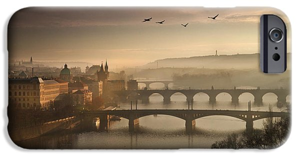 Charles River iPhone Cases - Flying over Prague iPhone Case by Charlie Photographer