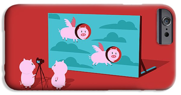 Pigs iPhone Cases - Flying pig iPhone Case by Budi Kwan