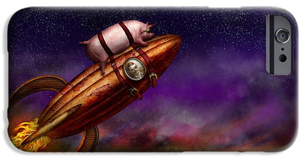 Rockets iPhone Cases - Flying Pig - Rocket - To the moon or bust iPhone Case by Mike Savad
