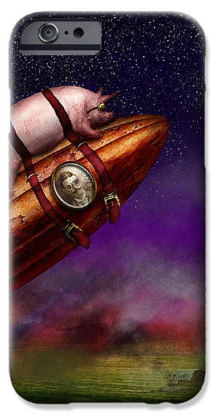 Flying Pig - Rocket - To the moon or bust iPhone Case by Mike Savad