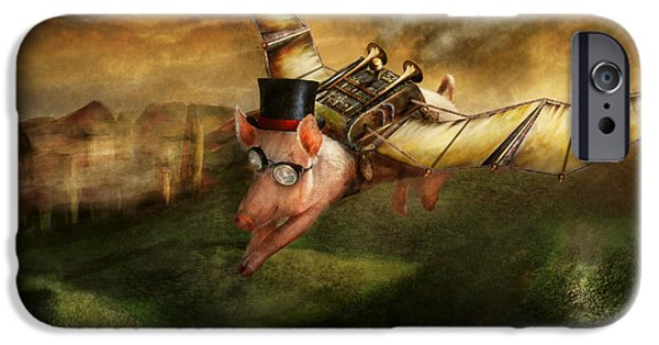 Suburban Digital Art iPhone Cases - Flying Pig - Steampunk - The flying swine iPhone Case by Mike Savad