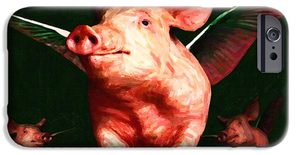 Charlotte iPhone Cases - Flying Pigs v1 iPhone Case by Wingsdomain Art and Photography
