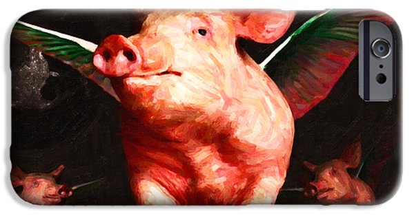 Charlotte Digital Art iPhone Cases - Flying Pigs v2 iPhone Case by Wingsdomain Art and Photography