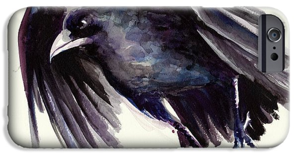 Sombre iPhone Cases - Flying Raven - Crow Painting iPhone Case by Tiberiu Soos