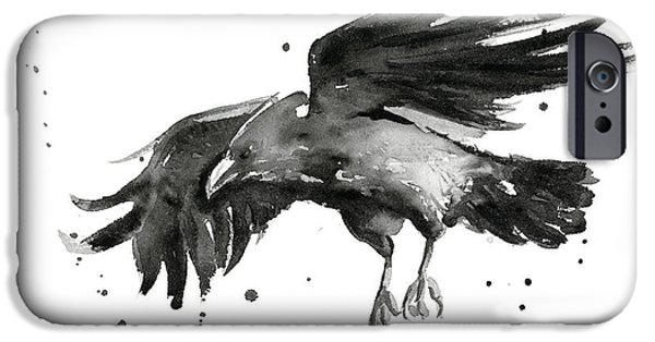 Raven iPhone Cases - Flying Raven Watercolor iPhone Case by Olga Shvartsur