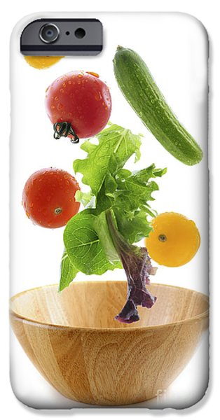 Meal iPhone Cases - Flying salad iPhone Case by Elena Elisseeva