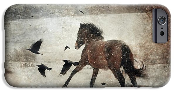 Horse Digital Art iPhone Cases - Flying With The Crows iPhone Case by Dorota Kudyba