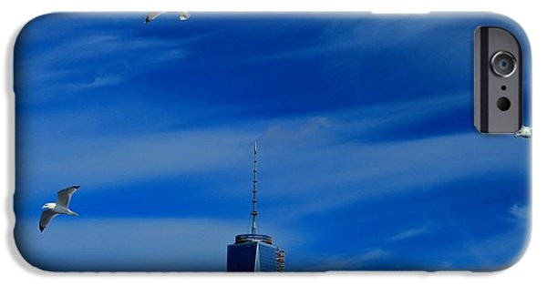 Flying Seagull iPhone Cases - Flyover One World Trade Center iPhone Case by Dan Sproul