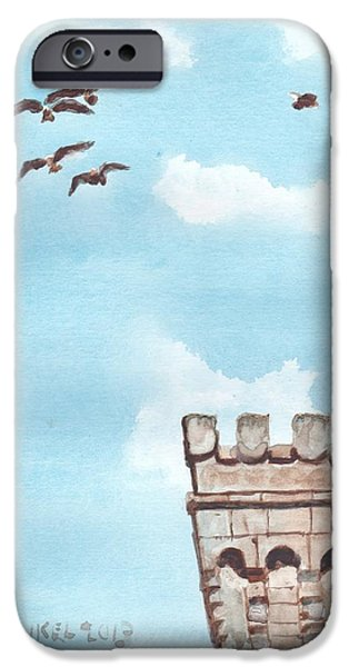 Seagull Drawings iPhone Cases - Flypast iPhone Case by Jeffrey Frankel