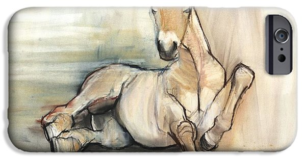 Horse iPhone Cases - Foal, 2012, Charcoal Conté And Pastel On Paper iPhone Case by Mark Adlington