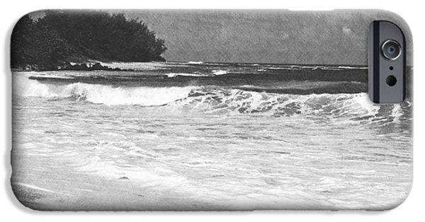 Frank Ocean Drawings iPhone Cases - Foamy Surf Pencil Rendering iPhone Case by Frank Wilson