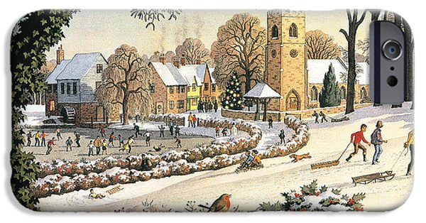 Christmas Eve Paintings iPhone Cases - Focus on Christmas Time iPhone Case by Ronald Lampitt