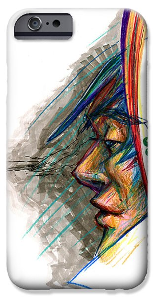 Colored Pencil Abstract iPhone Cases - Focusing the Attention iPhone Case by John Ashton Golden