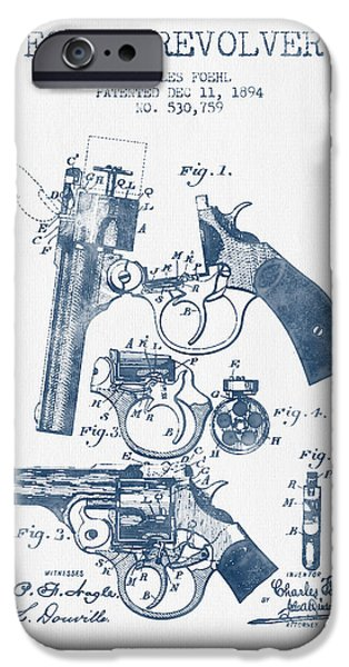 Weapon iPhone Cases - Foehl Revolver Patent Drawing from 1894 -  Blue Ink iPhone Case by Aged Pixel