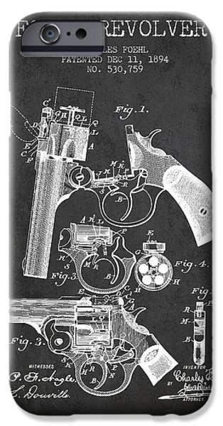 Pistol iPhone Cases - Foehl Revolver Patent Drawing from 1894 - Dark iPhone Case by Aged Pixel