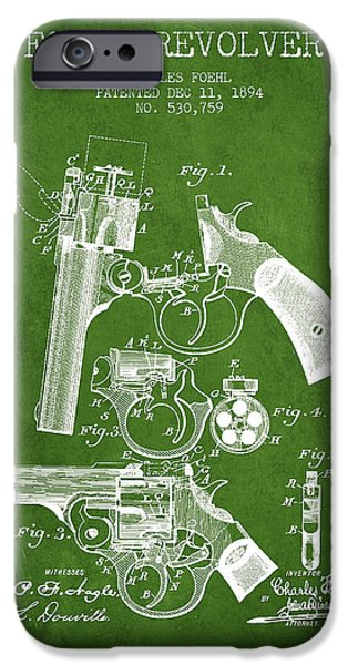 Pistol iPhone Cases - Foehl Revolver Patent Drawing from 1894 - Green iPhone Case by Aged Pixel