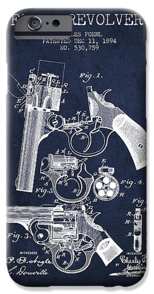 Weapon iPhone Cases - Foehl Revolver Patent Drawing from 1894 - Navy Blue iPhone Case by Aged Pixel