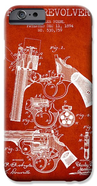Pistol iPhone Cases - Foehl Revolver Patent Drawing from 1894 - Red iPhone Case by Aged Pixel