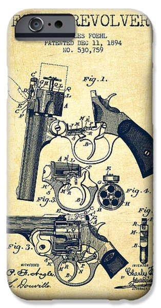 Pistol iPhone Cases - Foehl Revolver Patent Drawing from 1894 - Vintage iPhone Case by Aged Pixel