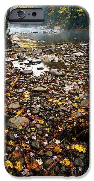 Fog and Fall Color Williams River iPhone Case by Thomas R Fletcher