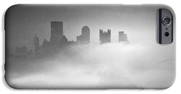 Fall iPhone Cases - Fog in Pittsburgh  iPhone Case by Emmanuel Panagiotakis