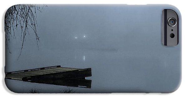 Overhang Digital iPhone Cases - Fog On The Lake iPhone Case by Jeanette C Landstrom