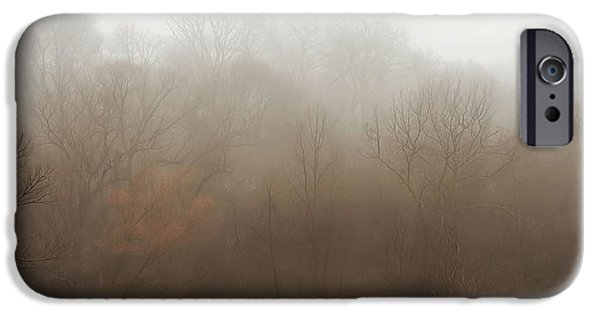 Fog Mist iPhone Cases - Fog Riverside Park iPhone Case by Scott Norris