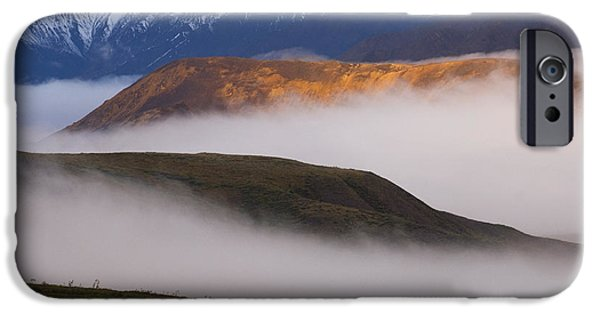 Interior Scene iPhone Cases - Fog Settles Between Mountain Ridges At iPhone Case by Ron Sanford