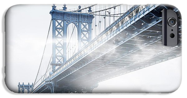 Manhattan iPhone Cases - Fog Under The Manhattan BW iPhone Case by Az Jackson