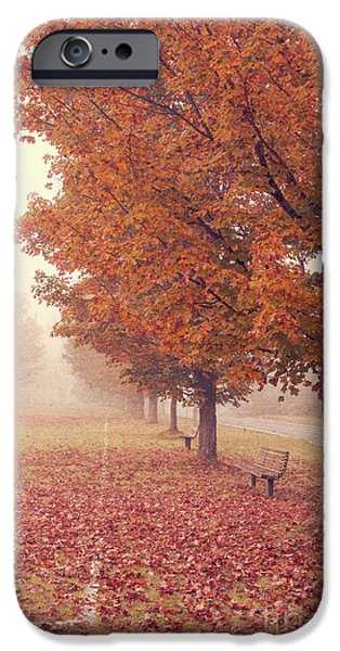 Autumn Road iPhone Cases - Foggy Autumn Morning Etna New Hampshire iPhone Case by Edward Fielding