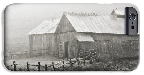 Shed iPhone Cases - Foggy Barn iPhone Case by Joan Davis