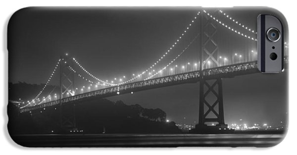 1950s Movies iPhone Cases - Foggy Bay Bridge iPhone Case by Bryant Coffey