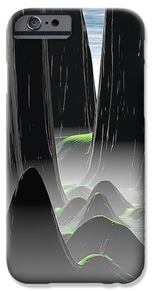 Mounds iPhone Cases - Foggy Canyon Pass iPhone Case by Phil Perkins