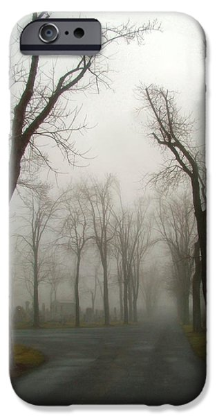 Graveyard Road iPhone Cases - Foggy Cemetery Road iPhone Case by Gothicolors Donna Snyder