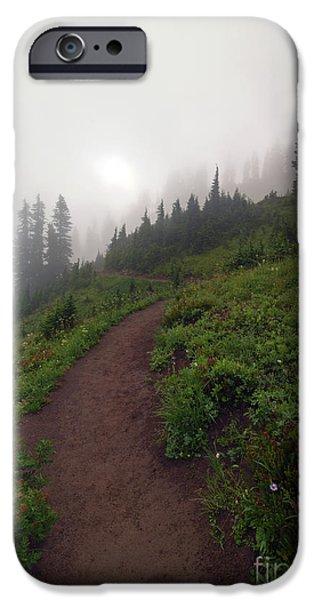 Foggy Crest Trail iPhone Case by Mike  Dawson