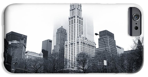 Twin Towers Nyc iPhone Cases - Foggy Day 1990s iPhone Case by John Rizzuto