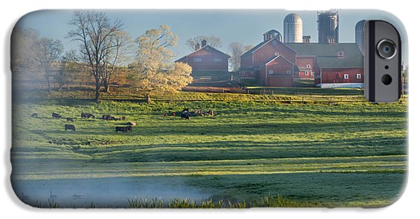 New England Dairy Farms iPhone Cases - Foggy Farm Morning iPhone Case by Bill  Wakeley