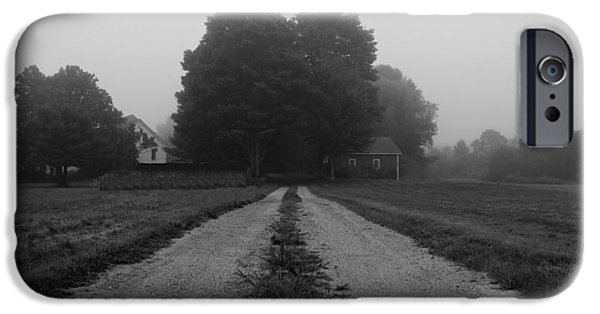 Rural Maine Roads iPhone Cases - Foggy Farmhouse iPhone Case by Alec Salisbury