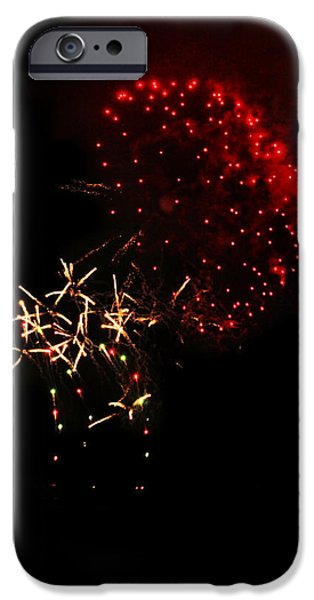July iPhone Cases - Foggy Fireworks iPhone Case by Lucy VanSwearingen