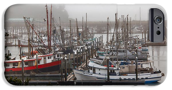 Haybale iPhone Cases - Foggy Ilwaco Port iPhone Case by Robert Bales