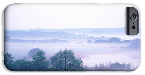 Eerie iPhone Cases - Foggy Landscape Northern Germany iPhone Case by Panoramic Images