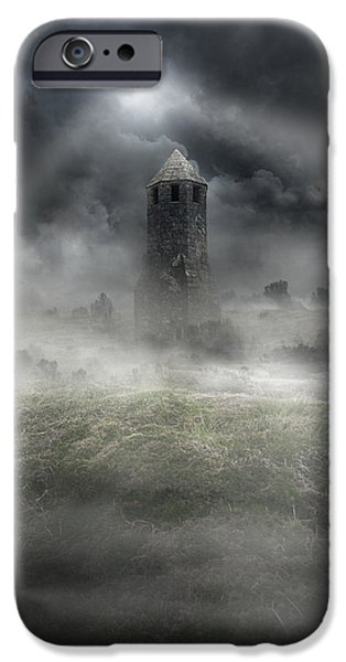 Drama iPhone Cases - Foggy landscape with dark tower iPhone Case by Jaroslaw Blaminsky