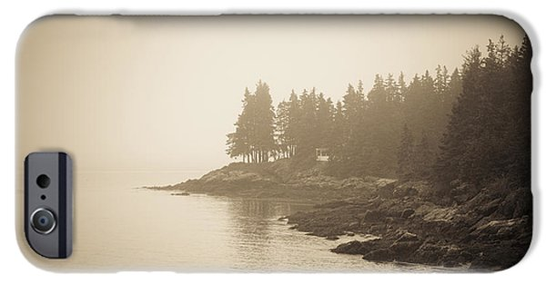 Rocky Maine Coast iPhone Cases - Foggy Maine Coast iPhone Case by Diane Diederich