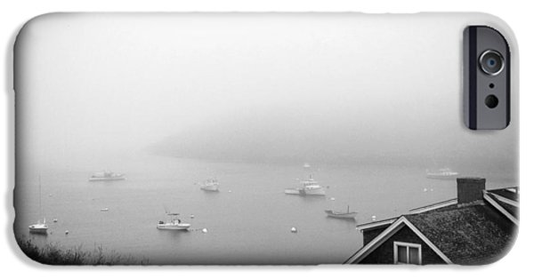 Midcoast iPhone Cases - Foggy Manana in Black and White  iPhone Case by Jean Macaluso