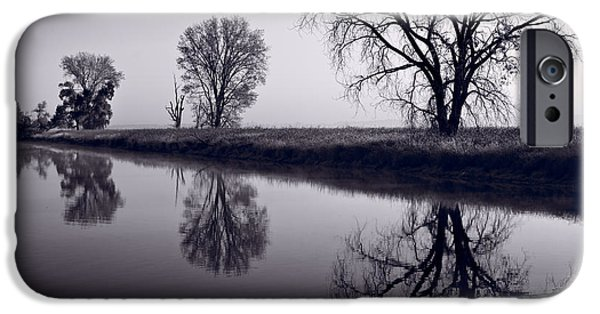 Refuge iPhone Cases - Foggy Morn BW iPhone Case by Steve Gadomski