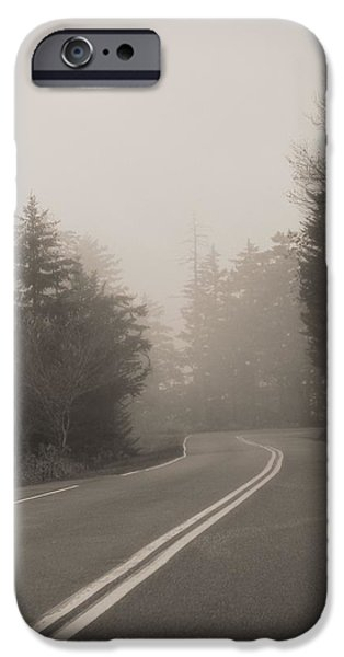Great Mysteries iPhone Cases - Foggy Morning Drive iPhone Case by Dan Sproul