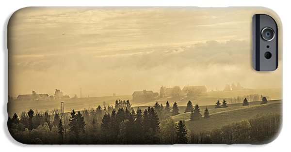 Fall Scenes iPhone Cases - Foggy Morning iPhone Case by Erik Brede